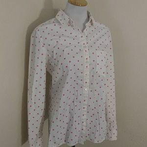 Gap Shrunken Boyfriend Polka Dot Button Down